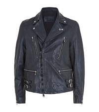Allsaints Ario Leather Biker Jacket Male Blue