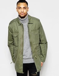 Asos Military Jacket With Drawstring In Khaki Green