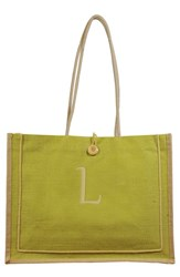 Cathy's Concepts 'Newport' Personalized Jute Tote Green Green L