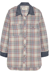 Current Elliott The Perfect Plaid Cotton Shirt Red