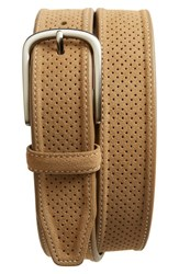 Johnston And Murphy Men's Big Tall Perforated Suede Belt Tan