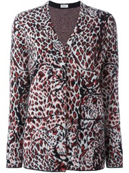 Saint Laurent Animal Print Cardigan Grey