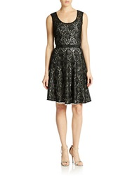 Plenty By Tracy Reese Fit And Flare Lace Dress Black Silver