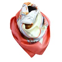 L'illustration Belle Epoque Coral French Countryside Silk Scarf