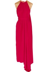 Vionnet Draped Silk Paneled Crepe Gown Pink