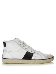 Saint Laurent Court Classic Distressed High Top Leather Trainers White Multi