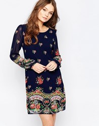 Yumi Long Sleeve Shift Dress Navy Black
