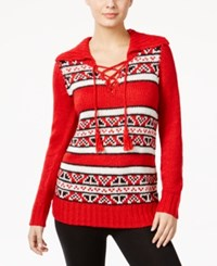 G.H. Bass And Co. Striped Lace Up Sweater Classic Red Combo