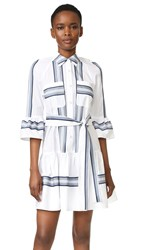Derek Lam Button Down Ruffled Hem Shirtdress Soft White