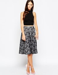 Traffic People Never Ending Story Circle Skirt In Midi Length Black