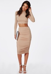 Missguided Ruched Seam Midi Skirt Nude Beige