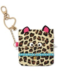 Betsey Johnson Gold Tone Brown Cat Pouch Keychain