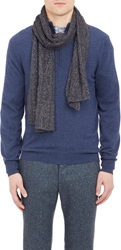 Inis Meain Diamond Cable Knit Scarf Blue