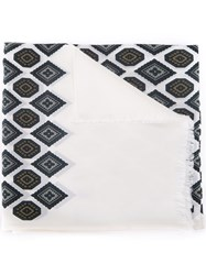 Lanvin Frayed Patterned Scarf White