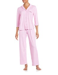 Karen Neuburger Striped Cotton Blend Pajama Set Pink