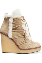 Moncler Shearling Trimmed Suede Wedge Boots Sand