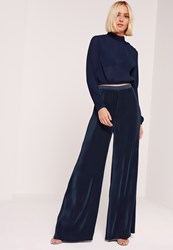 Missguided Pleated Wide Leg Trousers Navy