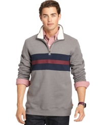 Izod Suede Fleece Quarter Zip Pullover Smoked Pearl
