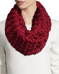 Neiman Marcus Floral Chunky Knit Infinity Scarf Burgundy Red