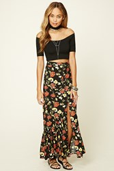 Forever 21 Button Down Floral Maxi Skirt