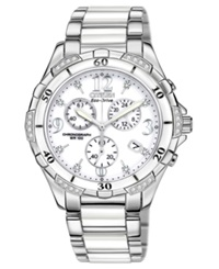 Citizen Women's Chronograph Eco Drive Diamond Accent Stainless Steel And White Ceramic Bracelet Watch 40Mm Fb1230 50A