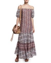 See By Chloe Off The Shoulder Multipattern Maxi Dress Gray Light Rose Size 44 Fr 12 Us Light Rose Grey