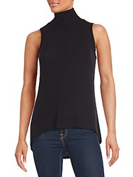 Red Haute Sleeveless Highneck Hi Lo Top Black
