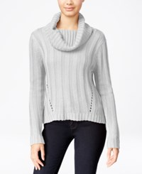 Hooked Up By Iot It's Our Time Juniors' Rib Knit Cowl Neck Sweater Spiritual Vanilla
