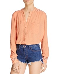 Free People The Best Button Down Shirt Peach
