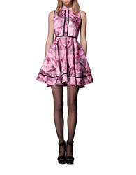 Cynthia Rowley Floral Print Fit And Flare Dress Pink Raspberry