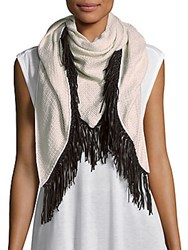 Bajra Fringed Cashmere And Silk Blend Scarf Ivory Black