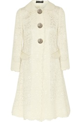 Dolce And Gabbana Patent Leather Trimmed Guipure Lace Coat