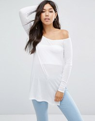 Asos Off Shoulder Slouchy Top With Side Splits White