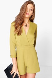 Boohoo Textured Wrap Front Playsuit Olive