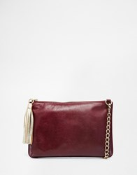 Urbancode Leather Clutch Bag With Optional Shoulder Strap Red
