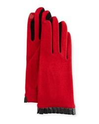 Portolano Cashmere Blend Leather Cuffed Tech Gloves Red Black