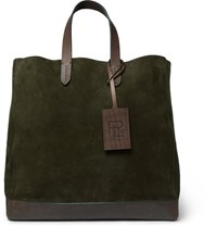 Ralph Lauren Purple Label Leather Trimmed Suede Tote Bag Green