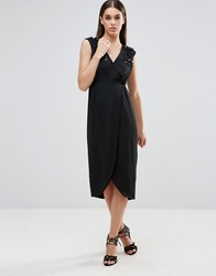 Darling Wrap Midi Dress With Embellished Shoulder Detail Black