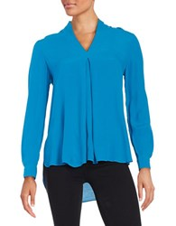 Lord And Taylor Crepe Hi Lo Blouse Mykonos Blue