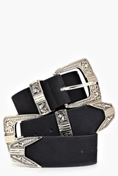 Boohoo Suedette Double Buckle Western Belt Black