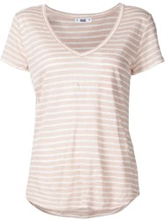 Paige Chest Pocket Striped T Shirt Pink And Purple