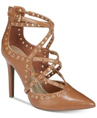 G By Guess Farrell Caged Pumps Women's Shoes Cognac