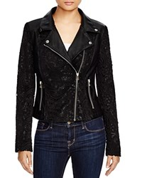 Bagatelle Lace And Faux Leather Moto Jacket