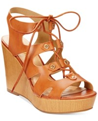 Xoxo Mercy Lace Up Platform Wedge Gladiator Sandals Women's Shoes Tan