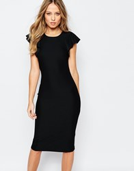 Y.A.S Alice Midi Dress With Frill Sleeves Black