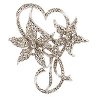Susan Caplan Vintage 1940S Silver Plated Marcasite Floral Brooch Silver