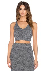 J.O.A. Knit Deep V Tank Gray