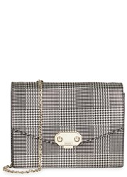 Armani Collezioni Metallic Houndstooth Leather Shoulder Bag Silver