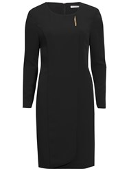 Gina Bacconi Stretch Moss Crepe Dress With Gold Trim Black