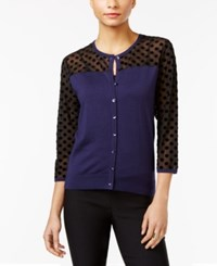 August Silk Illusion Contrast Cardigan Navy Black Dot